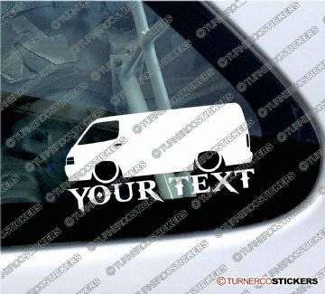 2x Custom YOUR TEXT Lowered car stickers - Toyota HiAce h100 van